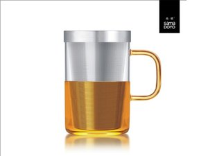 Samadoyo groot glas met fijn filter voor losse thee. Geel oor.