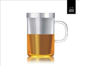 Samadoyo groot glas met fijn filter voor losse thee. Met transparant oor.