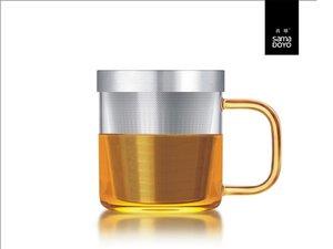 Samadoyo glas met fijn filter voor losse thee. Geel oor.