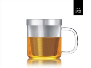 Samadoyo glas met fijn filter voor losse thee. Met transparant oor