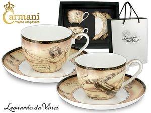 Carmani set van 2 kop en schotels - Leonardo Da Vinci Menselijk lichaam & Kruisb