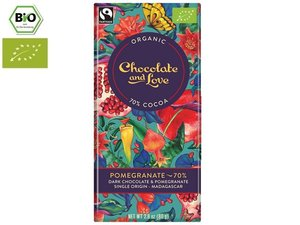 Chocolate and Love Organic Pomegranate 70% Chocolate 80 gram CH-BIO-006