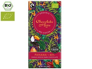 Chocolate and Love Organic Panama 80% Chocolate 80 gram CH-BIO-006