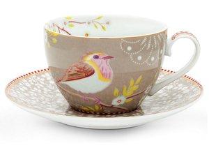 Pip Studio Cappuccino kop en schotel Early Bird Rose