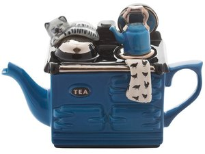 Aga, een kops theepot, Mid Blauw