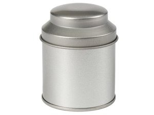 Theeblik 100 gram Rond, met bolle deksel en extra binnendeksel