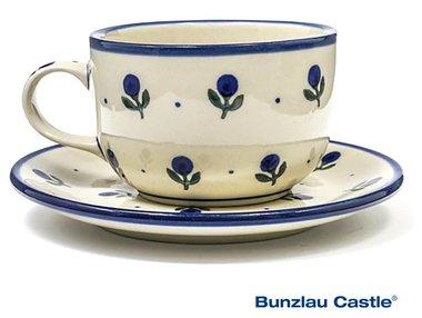Bunzlau Cup and Saucer Blue Berry 0,25 Liter