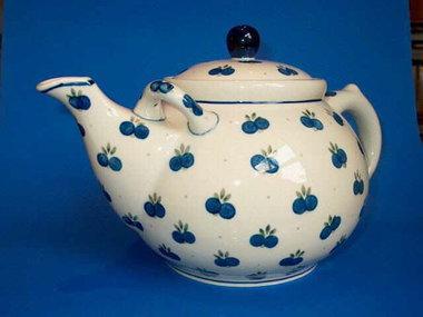 Bunzlau Teapot 3,0 liter Blue Cherries dark rim