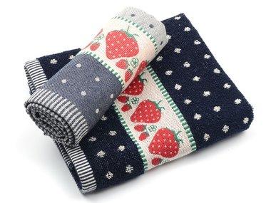 Bunzlau Keuken Handdoek Strawberry Dark Blue