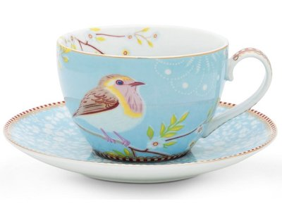 Pip Studio Cappuccino kop en schotel Early Bird Blauw