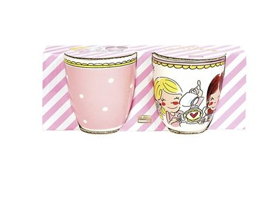 Blond Amsterdam Set 2 Mini Mokken Even Bijkletsen Pink Dot