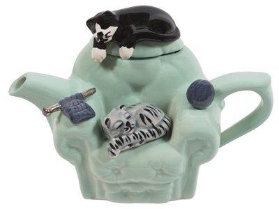Kat Stoel (Kat) Groene theepot voor een kop